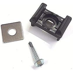 20 x KU schwarz + Klemmplatte + Bohrschraube f. Doppelstabmattenzaun Halter Zaun (9 mm Bohrung)