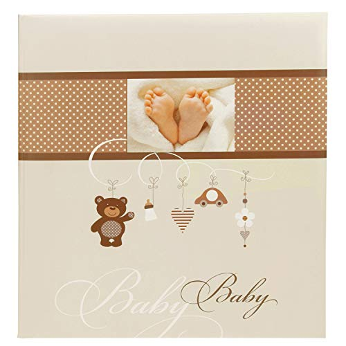 Goldbuch Babyalbum, Little Mobile, 30 x 31 cm, 60 weiße Blankoseiten mit 4 illustrierten Seiten und Pergamin-Trennblättern, Kunstdruck mit UV-Lack, Beige/Braun, 15237