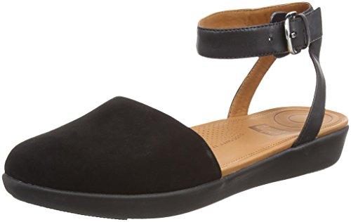 0cc44e3dea FitFlop Women's COVA Closed-Toe Sandals-Suede Ankle Strap (Black 001),