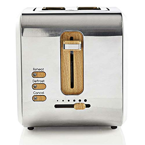 TronicXL ECO Toaster Holz Design Applikationen weiß silber - Soft-Touch - 6-Stufen - 900W - Designer Retro Holzdesign