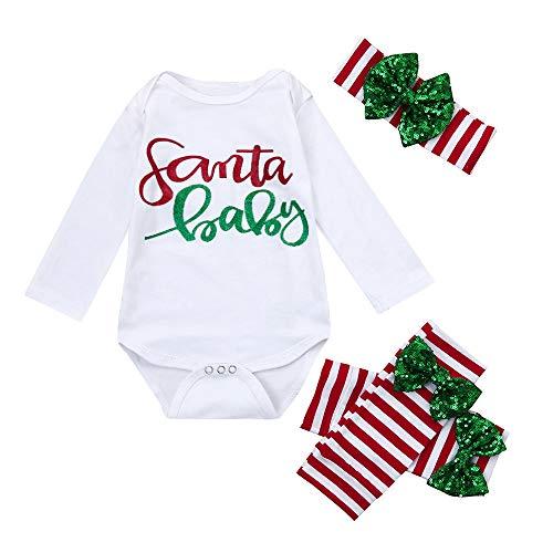 3 STÜCKE Neugeborene Babybekleidung Babymode Schlafanzüge Babyausstattung Kinder Baby Mädchen Weihnachtsspielanzug Overall + Stirnband Kleidung Outfits Felicove