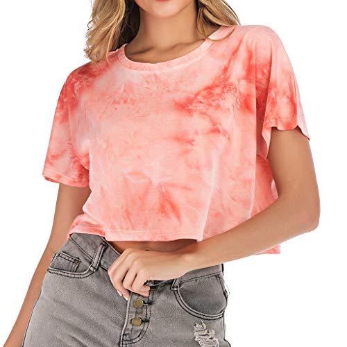 DressLksnf Damen Sport Crop Tops T-Shirt Lässig O-Ausschnitt Kurzarm Spitze Farbverlauf Bluse Streifendruck KurzHemd Strandurlaub Party Wild Tie-Dye Tops Weste -