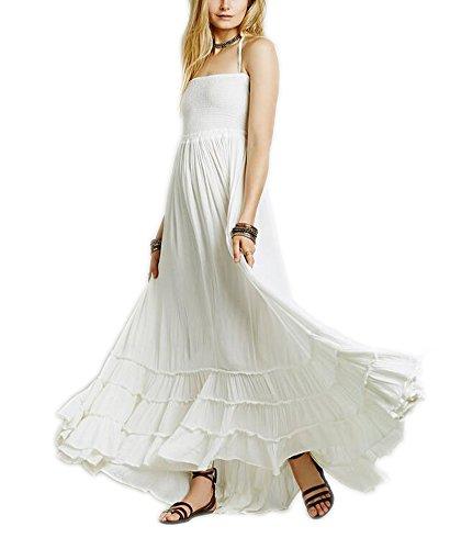 Arrowhunt Damen Mädchen Neckholder Rückenfrei Lange Party Kleider Weiß