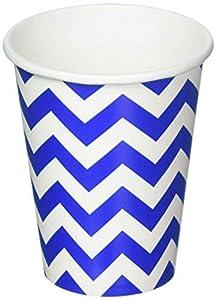 Amscan International - Vasos de papel, Blanco/azul, 8 piezas (581492-105)