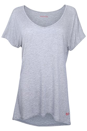 Damen Weites Yoga Fitness Training T-Shirt von Ethical Activewear Designer Sundried® Locker Baggy Ultra Weich Luxus (Large) (Versorgt Fitness)