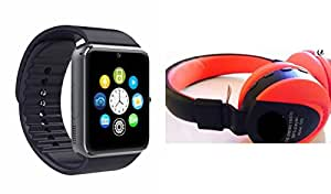 MIRZA Smart Watch & JBL 881C Bluetooth Headphones for XOLO X1000(JBL881C Bluetooth Headphones & GT08 Smart Watch Phone with Camera & SIM Card Support Hot Fashion New Arrival Best Selling Premium Quality Lowest Price with Apps like Facebook,Whatsapp, Twitter, Sports, Health, Pedometer, Sedentary Remind,Compatible with Android iOS Mobile Tablet-Assorted Color)