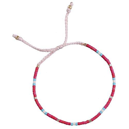 KELITCH Armband MischFarbe Rocailles Perlen Zart Schnur Freundschaftsarmbänder für Mädchen Damen - #09 -