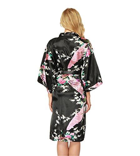 NINGMI Vestaglie per donna di seta Kimono in raso Pavone e fiori Damigella d'onore Accappatoio Camicia da notte Nero