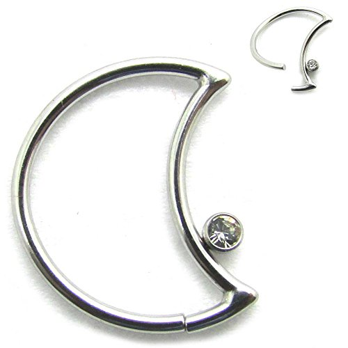 Newkeepsr 16g acciaio 316l crescent lobe piercing finto anello senza saldatura helix cartilagine orecchini hoops jeweled fashion ear-gem stone