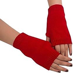 Cinnamou Mode Femmes Fille Tricoté Bras Sans doigts Chaud Gants D'hiver Chaud Mitaine Chaud Mitaines (Rouge)