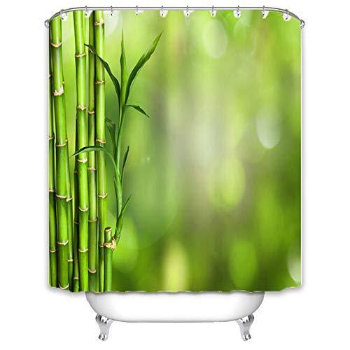 X-Labor Bambus Duschvorhang 240x200cm Wasserdicht Stoff Anti-Schimmel inkl. 12 Duschvorhangringe Waschbar Badewannevorhang 240x200cm Muster-C -