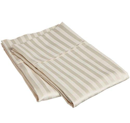 Kissenbezüge, Fadenzahl 400, 100% Baumwolle, Satin-Gewebe mit 10,2 cm Saum, 2 Stück Standard Stripe elfenbeinfarben -