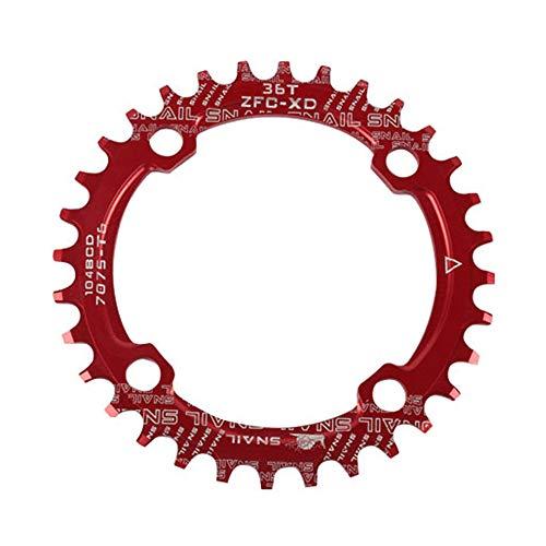 DIYARTS 104BCD Fahrrad Kettenblatt Einzelzahn Schmale Breite Fahrrad Aluminiumlegierung 32 T 34 T 36 T Ultraleicht CNC Prozess Kettenblatt Fit Für Die Meisten MTB XS Off Road AM Bike (Red-36T)