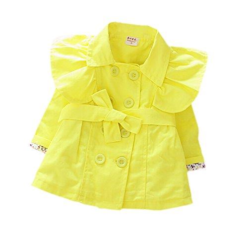 DELEY Mädchen Kinder Mode Umlegekragen Zweireiher Trench Jacke Mantel Kleid Outwear Gelb L