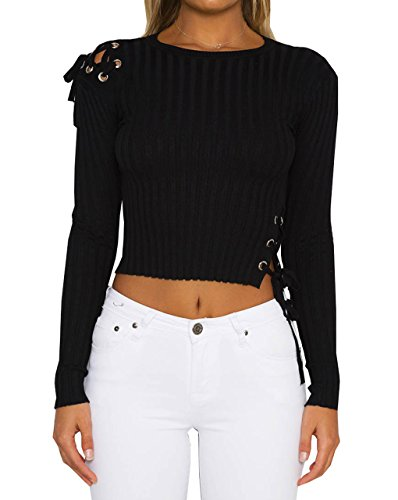 LemonGirl Damen Strap Top Bluse Lässige Pullover Pullover (Mens Golf Stricken Shirt)