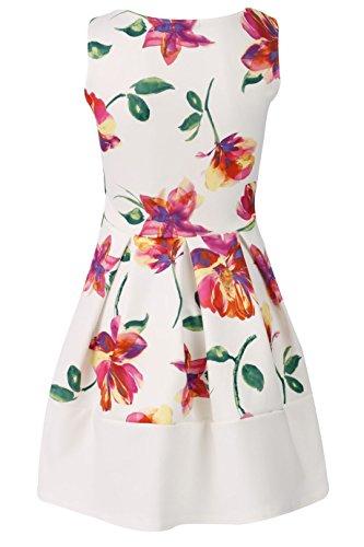 Momofashions- Dame Mädchen Blumen Kontrast Verkleidung Bogen schwarz & weiß Streifen Skater Kleid White floral Skater