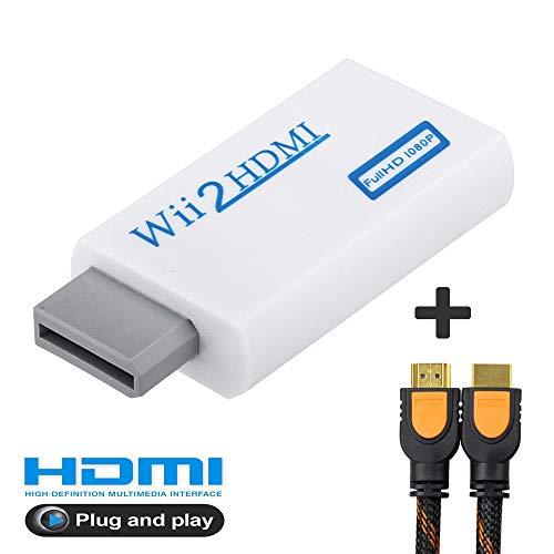 AITOO Wii zu HDMI Adapter - Wii zu HDMI Konverter Real 720p 1080P HD Ausgang Video & 3,5 mm Audio Konverter Adapter + 2 m High Speed HDMI Kabel für Nintendo Wii, unterstützt alle Wii-Display-Modi Component-video-pal-ntsc