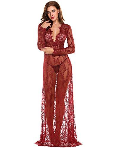 Romanstii Womens Mutterschaft Kleid Sexy Dessous Bikini Cover Up Beachwear Spitze Lange Maxi Kleid Nachtwäsche Nacht Kleid Pyjama Kleid (XX-Groß, Weinrot)
