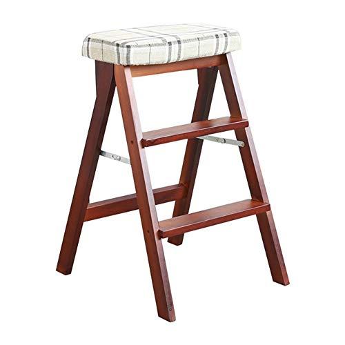 TLTLTD Trittleiter 3 Stufen, Tragbarer Multifunktions-Stufenhocker, Hochhocker Aus Massivem Holz, Haushaltskletterhocker, Küchenhocker Klapphocker, Mehrfarbig (Farbe : C)