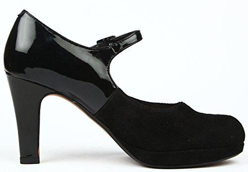 Clarks - Angie Kendra, Scarpe bracciale da donna Nero (Black Combi Sde)