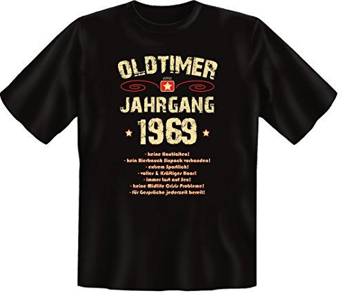 Zum 47 Geburtstag, Oldtimer / Jahrgang 1969, Humorvolles Herren Fun-t-shirts Geschenk zum Geburtstag mit Sprüche-Motiv:, , Schwarz