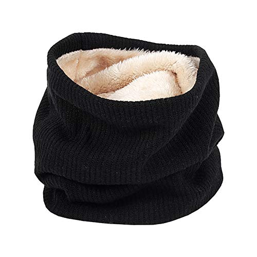 Emorias 1 Pcs Babero para Mujer Felpa A Prueba de Viento Pañuelo de Señora Mantener Caliente Espesar Tejida Bufanda - Negro