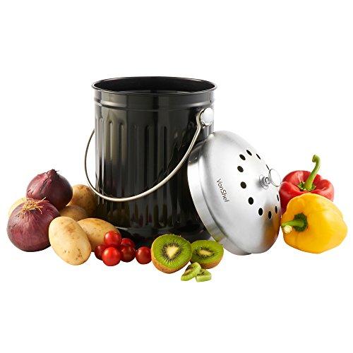 VonShef Poubelle de Table à Compost 4,5L + Poignée et...