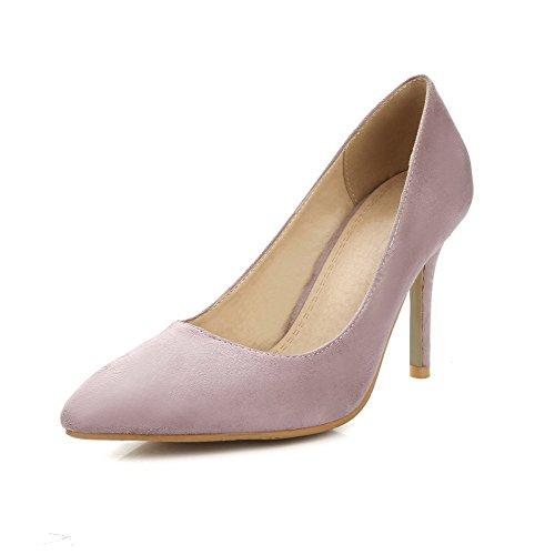 AgooLar Femme à Talon Haut Dépolissement Couleur Unie Tire Pointu Chaussures Légeres Rose