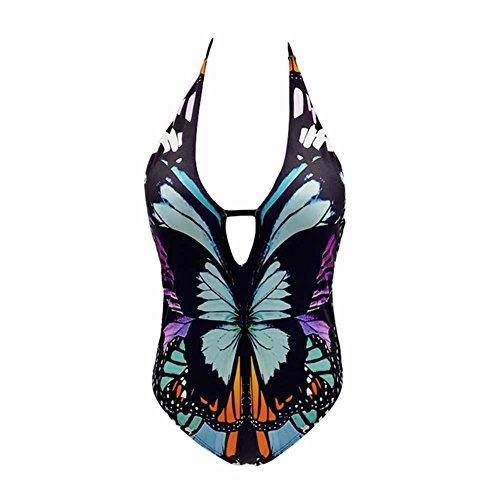 Schmetterling-print Thong (JIANLANPTT Damen Monokini mit Schmetterlings-Print, tiefer V-Einteiler - Mehrfarbig - Small)