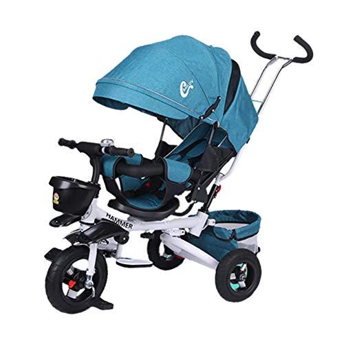 GUO@ Bebé Triciclo Plegable para niños Silla reclinable giratoria para bebés con Asiento para bebés...