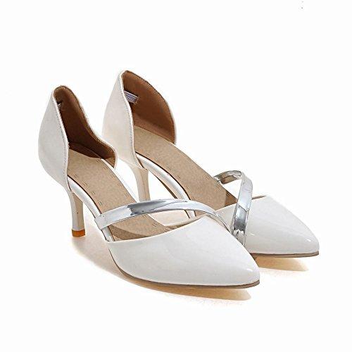 Mee Shoes Damen elegant Stiletto mehrfarbig Pumps Weiß