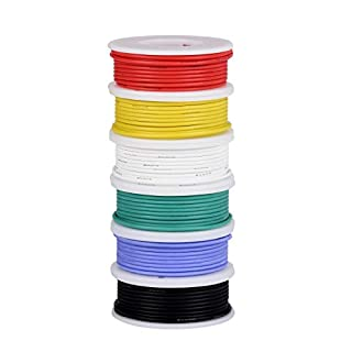 TUOFENG 26AWG Electronics Wire kit, Hook up Wire Kit Flexible Silicone Wire(6 Different Colored 10 Meter spools) 0.13mm² Stranded Wire Tinned Copper Wire