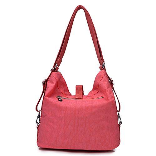 Outreo Schultertasche Wasserdichte Messenger Bag Umhängetasche Damen Handtasche Designer Kuriertasche Rucksäcke Strandtasche Sporttasche für Mädchen Taschen Reisetasche Nylon Rot