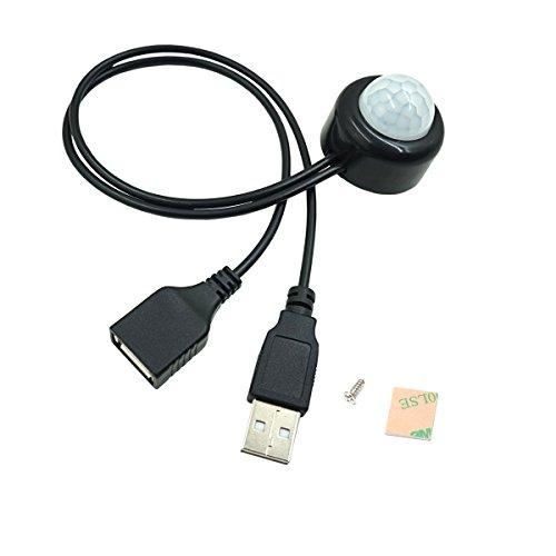 18 Schwarz-licht-lampe (COOLWEST Bewegungsmelder LED Streifen Lampe DC 5-24V USB Stecker - Schwarz)
