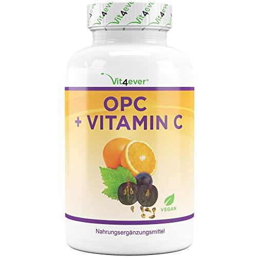 Vit4ever® OPC Traubenkernextrakt mit Vitamin C - 180 Kapseln - 1050 mg pro Tagesportion - Laborgeprüft - 3 Monatsvorrat - Vegan - Aus europäischen Weintrauben - Hochdosiert - Premium Qualität