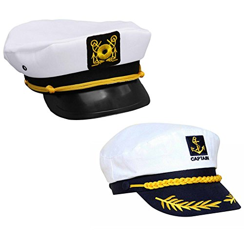 Schiff Halloween Kostüm Kapitän - MAXGOODS 2 STK Weiße Yacht Captain Navy Marine Skipper Schiff Sailor Military Nautischen Hut Cap Kostüm Erwachsene Party Kostüm