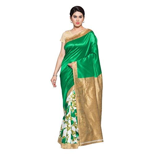 Oomph! Women's With Blouse Piece Art Silk Saree (rbks_Shamrock Green & White_Free...