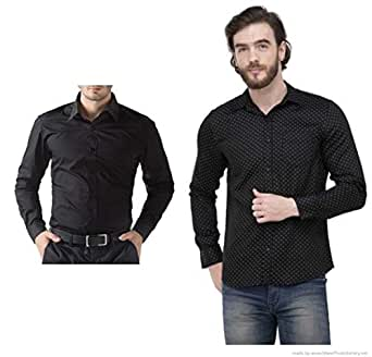 ZAKOD Combo of Plain and Polka Print Men's Wear Cotton Shirts,Slim Fit Shirts, Formal Wear Shirts,100% Pure Cotton Shirts,Available Sizes M=38,L=40,XL=42(Pack of 2)