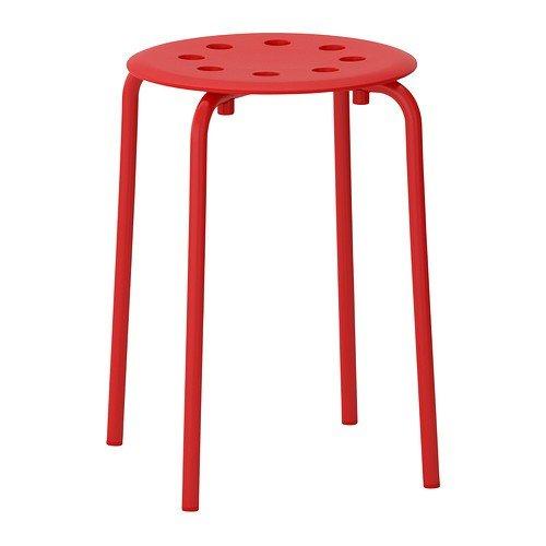 Ikea Marius Hocker in rot; stapelbar; (45cm)
