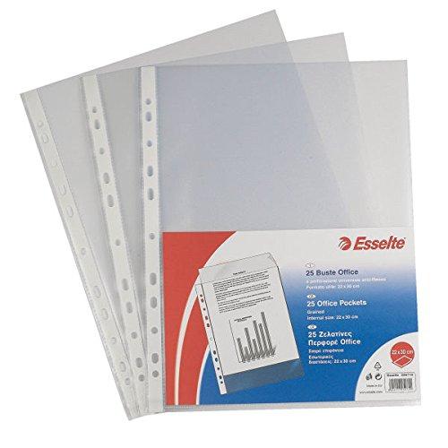 Esselte Buste a Perforazione Copy Safe Office, Trasparente, Formato 15 x 21 cm, Porta Documenti, In PP Antiriflesso, Confezione da 25 Buste, 395612200