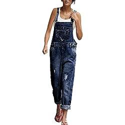 Wolfleague Salopettes Femme Bleu Svelte Pantalon Long Jean Denim pour Femme Sangles De Trou Combinaison Denim Femme Poche Barboteuse Pantalon S ~ L (S)