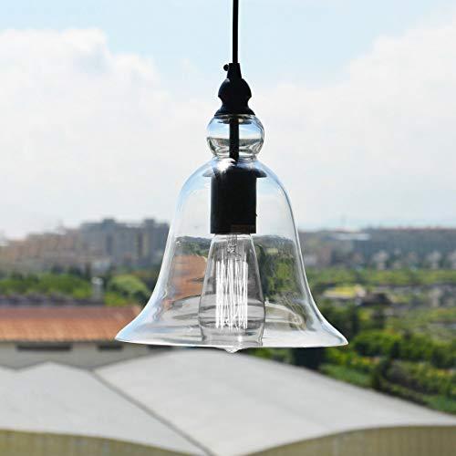 CEILINGLIGHTLEDLHde YWXLight Retro Industrie Hängende Lampe Kleine Glocke Transparentes Glas Pendelleuchte LED E27 Lampe Geeignet für Küche Esszimmer Schlafzimmer (Größe : Cold White) -