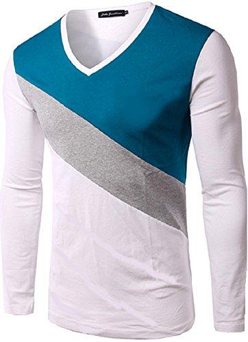 BOMOVO Herren Langarm Fashion Spleiß Langarm Shirt Slim Fit Weiß