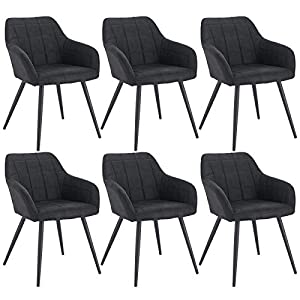WOLTU 6 x Esszimmerstühle 6er Set Esszimmerstuhl Küchenstuhl Polsterstuhl Design Stuhl mit Armlehne, mit Sitzfläche aus…