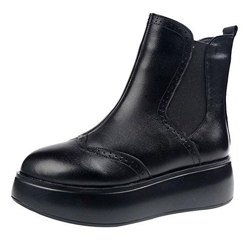 MatchLife Damen Leder Bootsschuhe Plateau Stiefel Style 1 mit Plüschfutter Schwarz