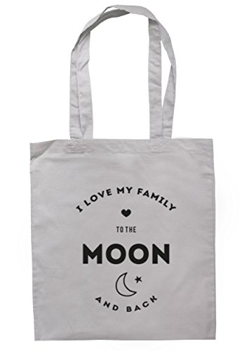 breadandbutterthreads i love my Family to the Moon and Back Borsa 37,5 cm x 42 cm con manici lunghi Light Grey