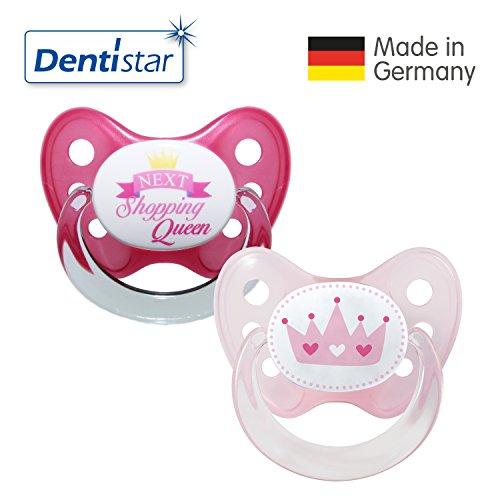 Dentistar® Silikon Schnuller 2er Set inkl. 2 Schutzkappen - Nuckel für Babys Größe 2, 6-14 Monate – Shopping Queen & Krone