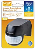 Garza Power - Detector de Movimiento Infrarrojos Mini de Pared, uso Exterior, ángulo de Detección 180º, Negro