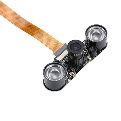 Raspberry Pi Zero W Kamera Modul Nachtsicht mit 3,6mm verstellbar Brennweite 2IR Sensor LED-Licht Raspberry Pi Zero verstellbar Kamera