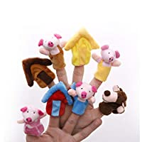 Aofocy Finger Puppets Toys Cartoon Animals The Three Little Pigs Animal Finger Puppet Educational Toys Fairy Tale Toy Plush Puppet Storytelling Doll for Kids Set of 8pcs